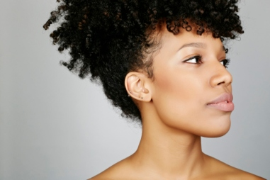 Close up of face of mixed race woman